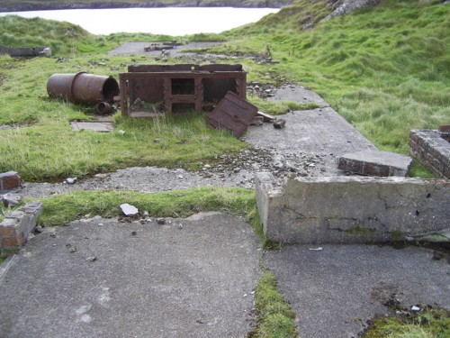 Accommodation building showing remains of boiler and stove at Rodel Camp NG 046 836