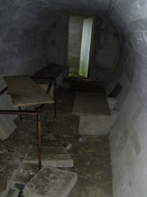 Inside air-raid shelter 2 at Rodel Camp