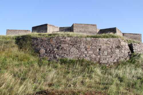 Earth bank retaining wall of gun emplacement